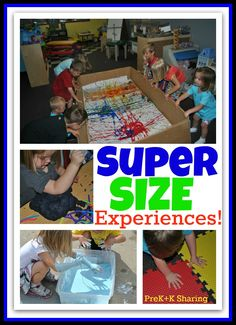 Super Size your Learning + Art Experiences for Young Children (via PreK+K Sharing). Great ideas for large groups for STEAM Preschool Story Class. Preschool Classroom, Art Classroom, Toddler Preschool, Toddler Storytime, Classroom Ideas, Kindergarten Science, Science Activities, Activities For Kids, Activity Ideas