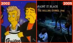 """In 2002, before Guitar Hero existed, Mick and Keith gave Homer a Guitar Hero jacket. Season 14, Episode 2, """"How I Spent My Strummer Vacatio..."""