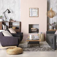 Pink and wood-panelled Scandi living room | Scandi Crush Decorating Ideas | Decorating | housetohome.co.uk