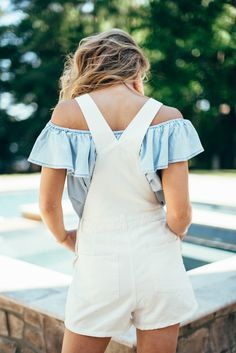 White overalls with ruffle top