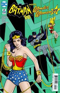 BATMAN '66 meets WONDER WOMAN '77 (DC) #2 cover by Michael & Laura Allred. Writers Jeff Parker & Mark Andreyko (March 2017) (please follow minkshmink on pinterest) #batman #wonderwoman #comics
