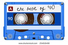 Vintage transparent audio cassette. Blue music cassette tape with text - the best of 90, old technology, realistic retro design. vector art image illustration, isolated on white background, eps10