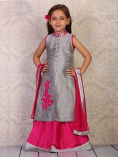 Grey Magenta Raw Silk Lehenga Cum Salwar Suit  Product Code: G3-GSS0428 Fabric: Raw Silk Color: Grey, Magenta