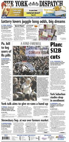 York Dispatch front page for Feb. 27, 2013