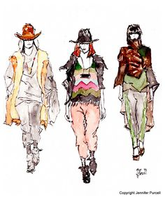 Nicholas K. Fashion Illustration by Jennifer Purcell (fall 2012 runway)