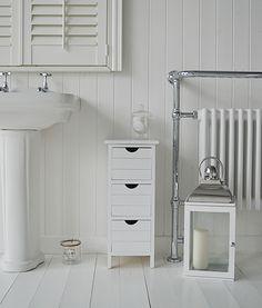 Portland Narrow White Bathroom Storage With 3 Drawers. A Three Drawer Free  Standing Storage Cabinet
