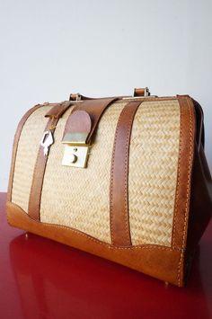 SAC bAG porte main Cuir OSier leather Vintage VTG 70 seventies Bohême CLeF TBE
