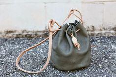leather drawstring bag, gray