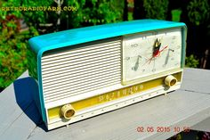 AQUA and White Retro Jetsons 1956 RCA Victor 9-C-7LE Tube AM Clock Radio Totally Restored! by RetroRadioFarm on Etsy