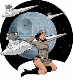 Star Wars Pin Up by MichaelGrills on deviantART. Star Trek, Star Wars Fan Art, Film Science Fiction, Dc Comics, Star Wars Girls, Street Art, Bros, Star Wars Tattoo, Star Wars Poster