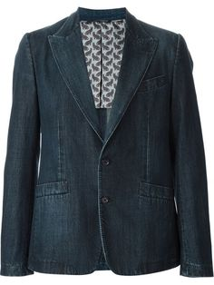 Peak lapel denim blazer Blazers, Denim Blazer, Menswear, Classy, Costumes, My Style, Shopping, Fashion, Down Jackets