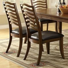 Coaster Furniture - Avery Casual Wavy Slat Back Side Chair with Vinyl Seat (Set of - 103542 Dining Room Chairs Ikea, High Back Dining Chairs, Ladder Back Chairs, Kitchen Chairs, Side Chairs, Wood Chairs, Dining Set, Coaster Furniture, Wooden Furniture