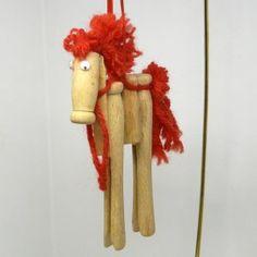 vintage Christmas ornament horse handmade wooden clothespin yarn googly eyes country naive