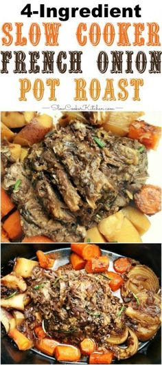 French Onion Crock Pot Pot Roast - New Ideas Beef Pot Roast, Slow Cooker Roast, Pot Roast Recipes, Healthy Crockpot Recipes, Beef Recipes, Paleo Crock Pot, Easy Crockpot Roast, Fast Crockpot Meals, Crockpot Dishes