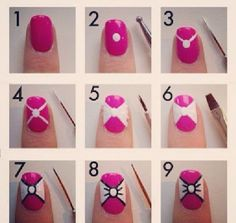 Creative Bow Nail Designs of 2014 for Casual Fashion : Minnie Bow Nail Art Designs. bow nail art,bow nails,cute bow nail ideas,images of bow nail designs Bow Tie Nails, Bow Nail Art, Cute Nail Art, Nail Art Diy, Diy Nails, Cute Nails, How To Nail Art, Bow Nail Designs, Nails Design