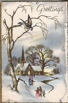 Vintage Stanley Christmas Card Church in The Snow with Bird | eBay