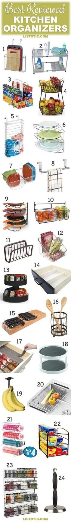 Kitchen Organization Ideas | The best reviewed kitchen organizers! These are great for the pantry, cabinets or countertops... especially for small kitchens.