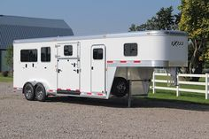 The Exiss 7200 SR gooseneck horse trailer is one of the most versatile trailers in the market today complete with a full dressing room, rear ramp, side ramp and side unload door. Buy A Horse, Trailer Organization, Two Horses, Horse Trailers, Dirtbikes, Trail Riding, Horse Care, Rodeo, Recreational Vehicles