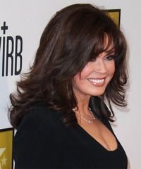 Marie Osmond - long layers Layered Haircuts For Medium Hair, Haircuts For Long Hair, Formal Hairstyles, Medium Hair Styles, Curly Hair Styles, Dark Brunette, Brunette Hair, Marie Osmond, Hair Looks