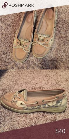 Sperry top sider in a size 9 Tan leather with cheetah print sequence on both sides and tongue of shoe Sperry Top-Sider Shoes Flats & Loafers