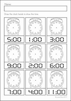 Clock worksheets for kindergarten digital clock learning worksheets en printable analog for educational blank printable clock . Math Literacy, Homeschool Math, Teaching Math, Math Activities, Maths, 1st Grade Math Worksheets, Kindergarten Worksheets, Clock Worksheets, Kindergarten Prep