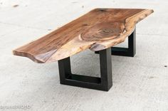 Steel Base Coffee Table  live edge bench  by brandMOJOinteriors, $1250.00