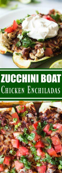 Zucchini Boat Chicken Enchiladas
