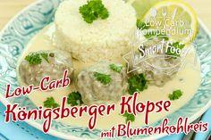 Low-Carb Königsberger Klopse mit Blumenkohlreis - Die klassischen Königsberger Klopse als Low-Carb Rezept ganz ohne Weizenmehl und mit Blumenkohlreis.