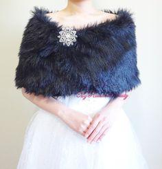 Bridal Black Faux Fur Wrap Black Bridal Wrap by MyRadiantBeauty, $37.99