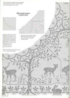"Filet Crochet Chart: part 2. Mary Card ""Woodlands"""