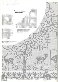 "Filet Crochet Chart: part 2. Mary Card ""Woodlands"""