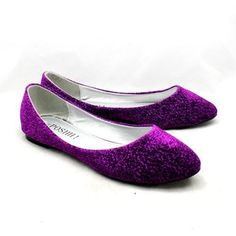 TAKING OFF THOSE BAD BOYS AFTER I SAY DOand Slipping Into These Purple Glitter Wedding Slippers