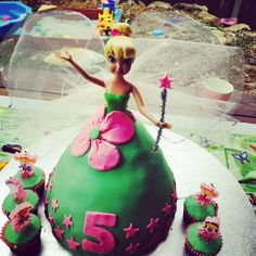 How cute is this simple Tinkerbell cake? Designed by a 5 year old www.facebook.com/GiftClubApp