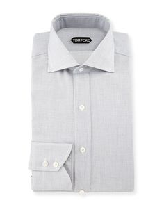TOM FORD Tiny-Dot Stripe Slim-Fit Shirt, White/Black. #tomford #cloth #