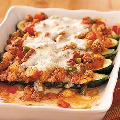 Saucy Stuffed Zucchini Recipe from Taste of Home -- shared by Barbara Edgington, Frankfort, Ohio