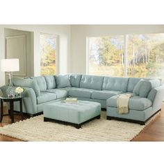 Light Blue Living Room Leather Couch picture of brandon heights hydra 3 pc sectional living room from