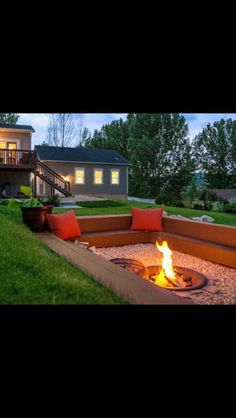 This time of year makes the most sense to have a fire pit in your backyard or outdoor living area. A fire pit with cozy seating area will be a perfect centerpiece of your backyard paradise. For before(Favorite Spaces Outdoor Living) Diy Fire Pit, Fire Pit Backyard, Backyard Patio, Backyard Seating, Back Yard Fire Pit, Deck With Fire Pit, Outdoor Landscaping, Sunken Patio, Sunken Fire Pits