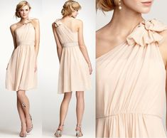 lovely blush bridesmaid dress in chiffon with one sholder.  gorgeous details