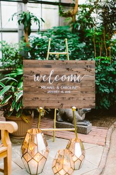 wedding signs - photo by Redfield Photography http://ruffledblog.com/romantic-philadelphia-horticulture-center-wedding