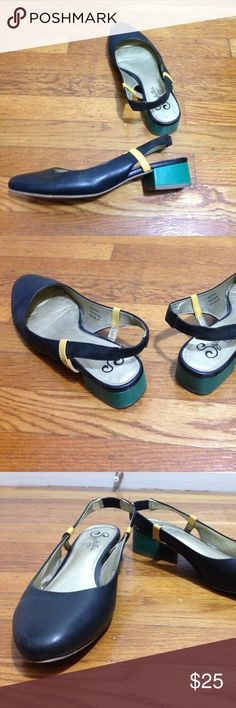 Seychelles slingback color block heels, Size 8 From straight on they are polished, neutral, professional black shoes, but with pops of color on the heel and along the strap they have a great bold look. Low heel for those who don't want to deal with the pain of platforms or stilettos, but want something more unique than black flats.  Worn 2-3 times, there is light wear on the bottom and inside of the shoe, these are in excellent condition with no wear on the toe or heel. Size 8. Seychelles…