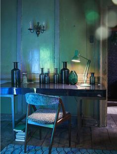 The Deco Soul: Old Apothecary Jars in a Moody Room.