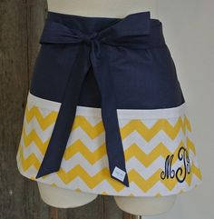 Personalized Yellow Chevron trimmed in Navy Craft by LizzysBiz