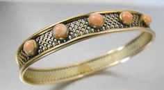 Victorian 10K Angel Skin Coral Bangle by TonettesTreasures on Etsy, $429.00