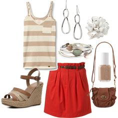 Spring Neutrals with a red skirt, created by distantlover on Polyvore