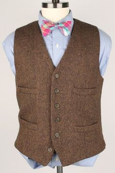 MINT J Crew Brown Herringbone TWEED Medium mens Vest Waistcoat Hunting