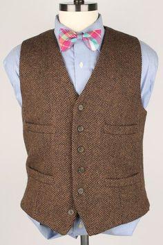 MINT J Crew Brown Herringbone TWEED Medium mens Vest Waistcoat Hunting