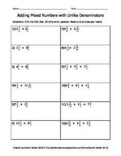 Worksheets, Numbers and Articles on PinterestMixed Numbers Packet - Adding, Subtracting, Multiplying, and Dividing Mixed Numbers with Like