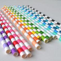 Circular Striped Paper Straws