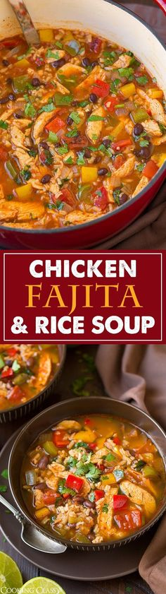 Chicken Fajita and Rice Soup - this soup tastes just like chicken fajitas but in soup form! LOVED IT! Its so flavorful and totally filling. Just wait to add the rice if you dont plan on eating it all right away.