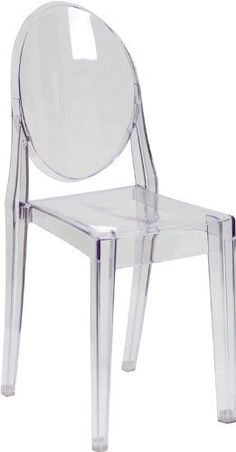 Flash Furniture Ghost Side Chair in Transparent Crystal Flash Furniture  ---editor's note: I really need to trade out my comfortable desk chair for something hard and plastic and aesthetically pleasing.